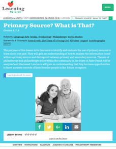 Communities in Crisis Lesson 1: Primary Source? What is That? Lesson Plan