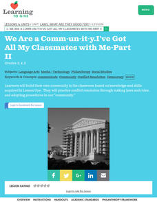 We Are a Comm-un-it-y.  I've Got all My Classmates with Me, Part II Lesson Plan