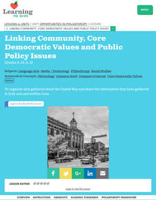 Linking Community, Core Democratic Values and Public Policy Issues Lesson Plan