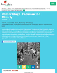 Center Stage -- Focus on the Elderly Lesson Plan