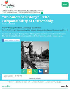 """An American Story"" -- The Responsibility of Citizenship Lesson Plan"