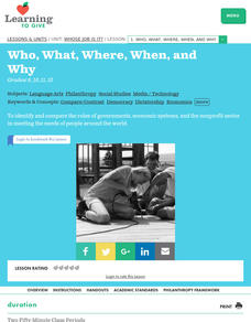 Who, What, Where, When, and Why Lesson Plan