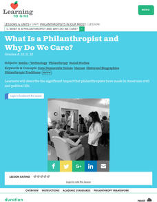 What is a Philanthropist and Why Do We Care? Lesson Plan
