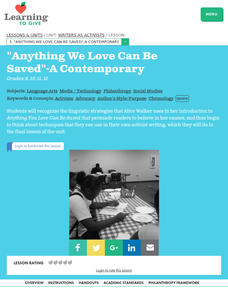 """Anything We Love Can Be Saved"" -- A Contemporary Lesson Plan"