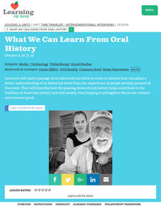 What We Can Learn From Oral History Lesson Plan