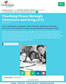 Different! Diverse! Dynamic! Lesson 2:  Teaching Peace Through Literature And Song Lesson Plan