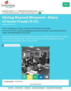 Giving Beyond Measure-- Diary of Anne Frank Lesson Plan