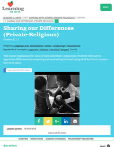 Sharing our Differences (Private-Religious) Lesson Plan
