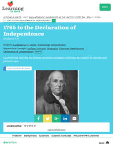 Philanthropic Movements in the United States to 1900: 1765 to the Declaration of Independence Lesson Plan