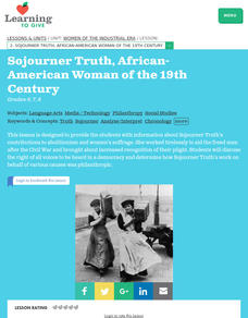 Sojourner Truth, African American Woman of the 19th Century Lesson Plan