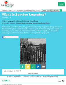 What Is Service Learning? Lesson Plan