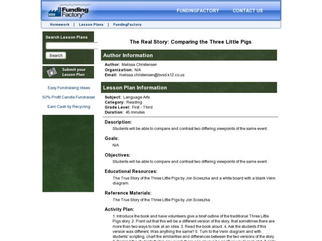 The Real Story:  Comparing the Three Little Pigs Lesson Plan