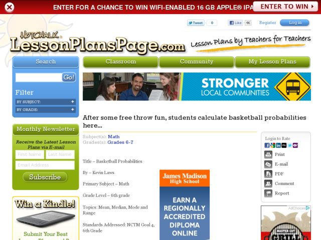 Basketball Probabilities Lesson Plan