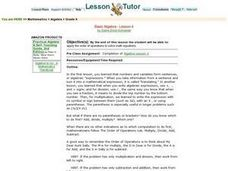 Basic Algebra - Lesson 4  Order of Operations Lesson Plan