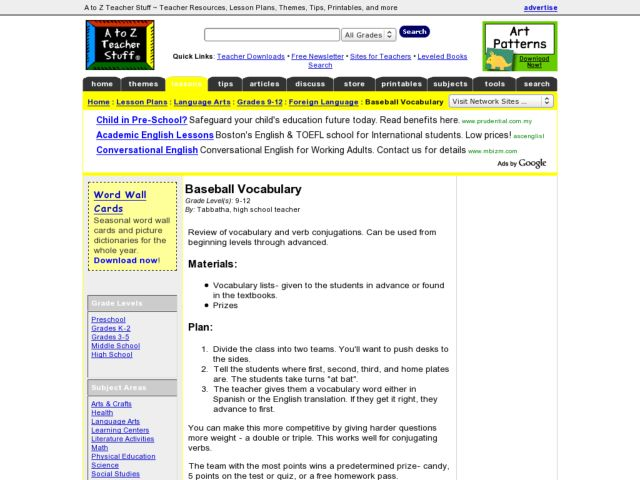 Baseball Vocabulary Lesson Plan