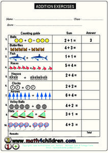 Addition Exercises Worksheet