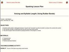 Voicing and Syllable Length (Using Rubber Bands) Lesson Plan