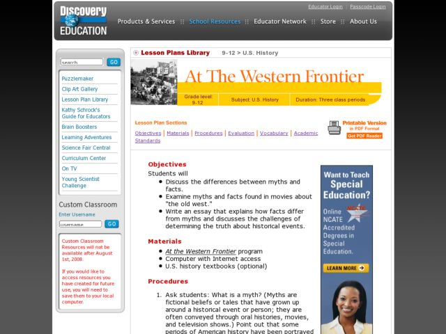 At The Western Frontier Lesson Plan