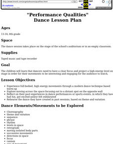 """Performance Qualities"" Dance Lesson Plan Lesson Plan"