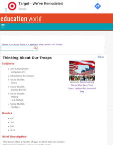Thinking About Our Troops Lesson Plan