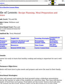Recipe Planning, Meal Preparation and Service Lesson Plan