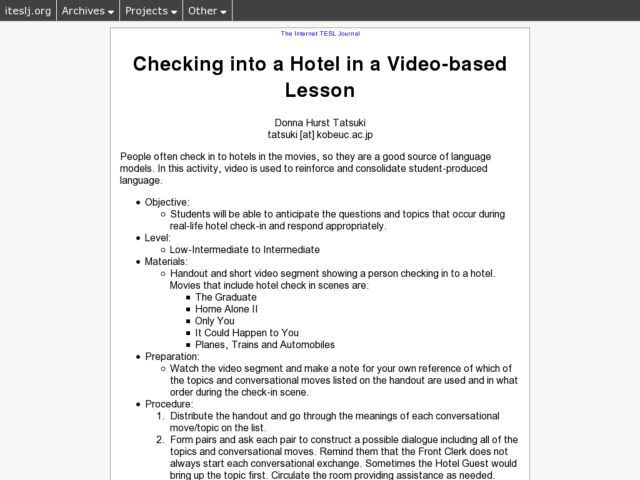 Checking into a Hotel in a Video-based Lesson Lesson Plan