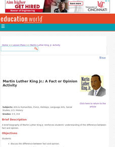 Martin Luther King Jr.: A Fact Or Opinion Activity Lesson Plan