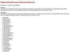Keyboarding Dinosaur Endurance Exercise Lesson Plan