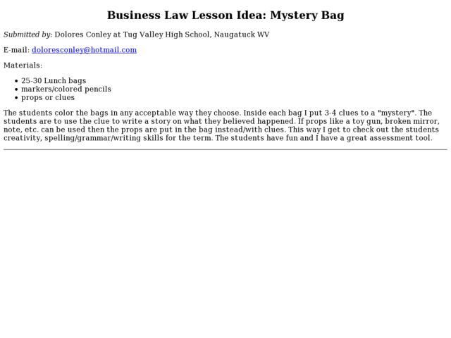 Business Law Lesson Idea: Mystery Bag Lesson Plan