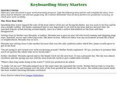 Keyboarding Story Starters Lesson Plan