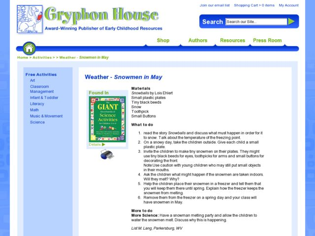 Weather -- Snowmen in May Lesson Plan