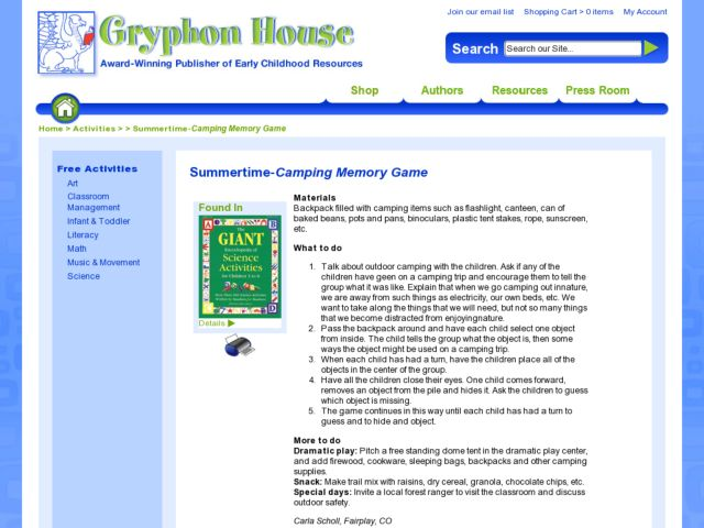 Summertime -- Camping Memory Game Lesson Plan