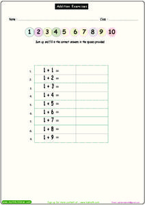 Addition Exercises 7 Worksheet