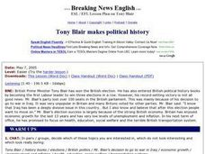 Tony Blair Makes Political History - Easier Version Worksheet