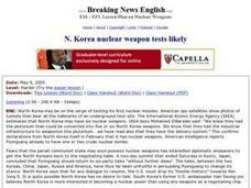 North Korea Nuclear Weapon Tests Likely Worksheet