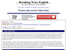 Women-only Cars for Tokyo Trains - Easier Version Worksheet
