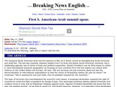 First South American-Arab Summit Opens Worksheet