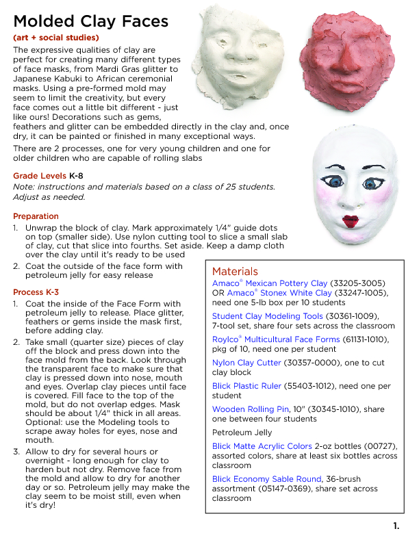 Molded Clay Faces Lesson Plan