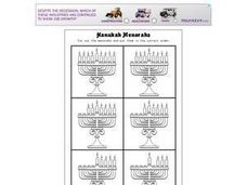 Hanukah Menorahs Worksheet
