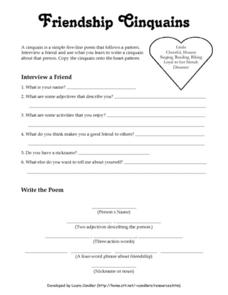 Friendship Cinquains Lesson Plan
