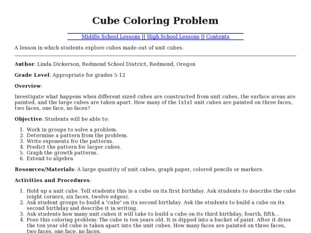 Cube Coloring Problem Lesson Plan