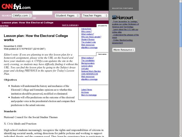 How the Electoral College Works Lesson Plan