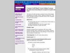 Census and Gold Rush Town Lesson Plan