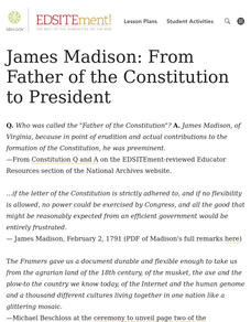 James Madison: From Father of the Constitution to President Lesson Plan