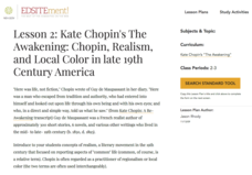 Kate Chopin's The Awakening: Local Color in the Late 19th Century Lesson Plan