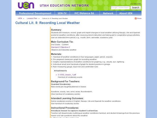 Recording Local Weather Lesson Plan