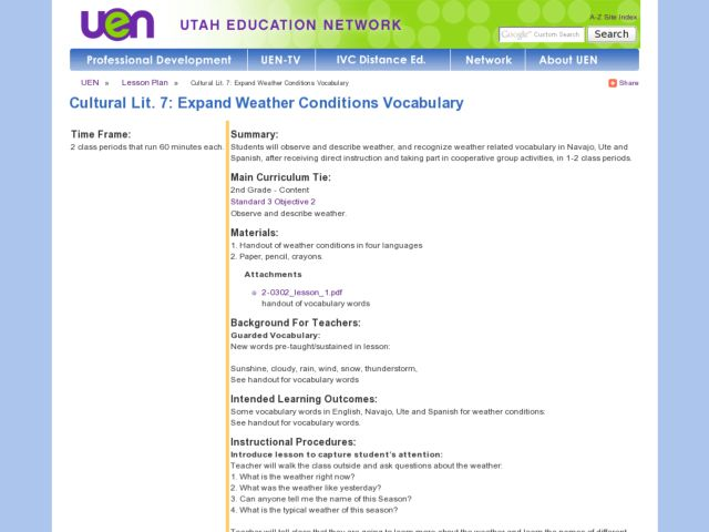 Cultural Lit. 7: Expand Weather Conditions Vocabulary Lesson Plan