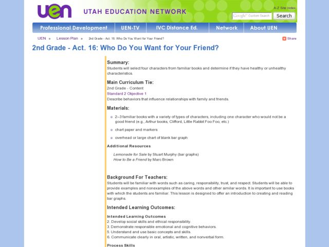 Who Do You Want For Your Friend? Lesson Plan