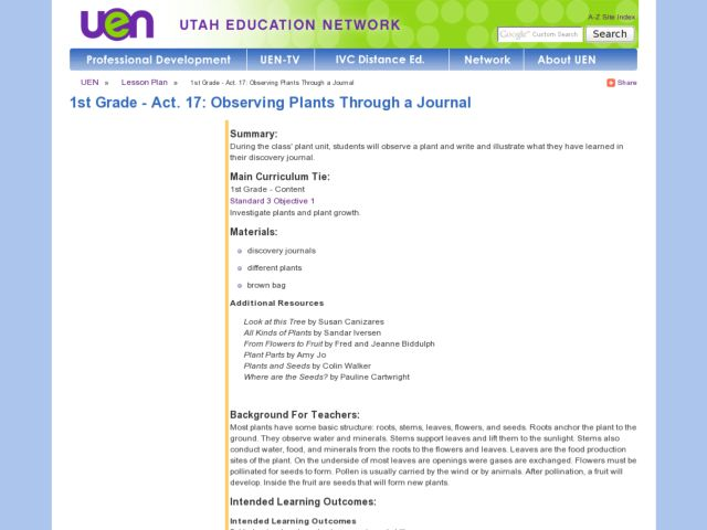Observing Plants Through a Journal Lesson Plan