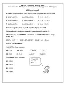 Addition of Decimals Worksheet